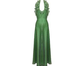 Vintage Geoffrey Beene Green and White Polka Dot Silk Halter Gown 1970s