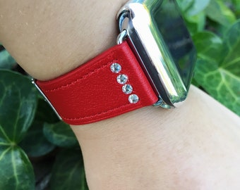 Red Leather Apple Watch Band 38mm 42mm The Swarovski Crystal ELEVATE Band MULTIPLE COLORS 38 42 Womens iWatch Strap + Cover Case TimeKitsUSA