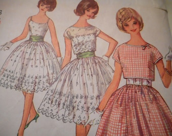 Vintage 1960's Simplicity 4795 Dress and Jacket Sewing Pattern Size 13 Bust 33