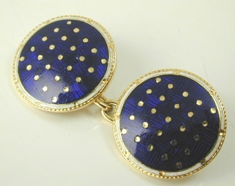Antique enamel & gold round cufflinks circa 1880s 11.7 grams French