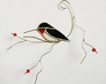 Bright green with red throat Ruby Throated Hummingbird stained glass suncatcher