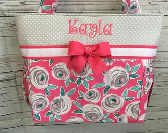 Floral Curiosities .. Diaper Bag  ... TOTE .. Personalized FREE
