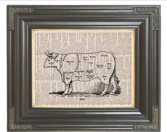 Cuts of beef diagram Butcher shop meat cuts printed on dictionary page dictionary art print wall decor Digital art Item No 667