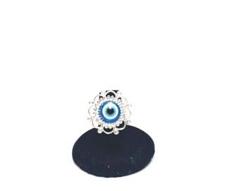 Creepy Cute, Kawaii Ring, Fairy Kei, Gothic Lolita, Harajuku, Pastel Goth, Blue Eyeball, Eye Ring, Adjustable Filgree Ring