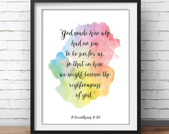 "Scripture Quote Art, Corinthians 5:21, ""God made him who had no sin"", scripture art, christian art, Church Painting, Bible Quotes"