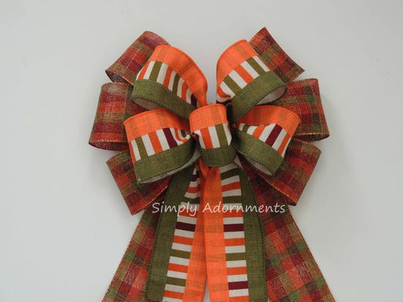 Fall Plaid Thanksgiving Wreath Bow Fall Country Wedding Bow Rustic Fall Plaid Door Decor Wedding Aisle Decor Orange Green Fall Wedding Bow