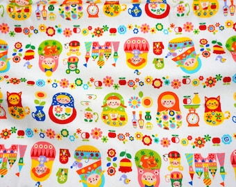 Matryoshka Russian dolls fabric 50 cm by 106 cm or 19.6 by 42 inches