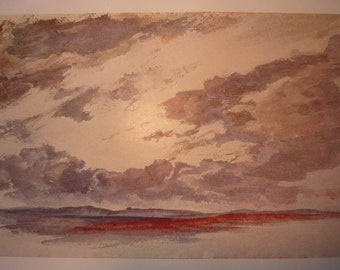Storm Clouds at Twilight 1904 - vibrant color prints - rain clouds at sunset  Science Illustration - Print only or with Mat - Ships Fast