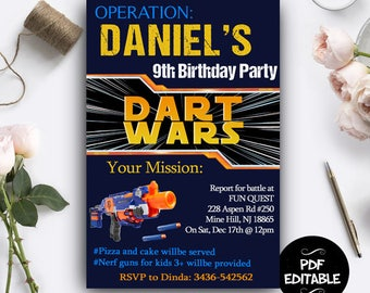 Dart Gun War Invitation, Dart Gun Digital Invitation,Dart Gun Battle, Dart Gun War Instant Download, Dart Gun War PDF Editable, Dart Gun War