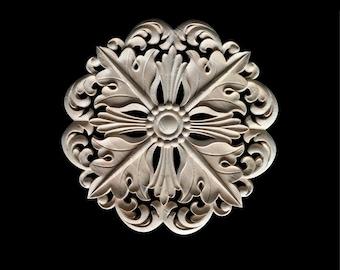 1 Piece Round Rosette Applique Shabby Chic Wood Embellishments Ornate Furniture Apliques Wood Onlay Furniture Trim Supplies WA015
