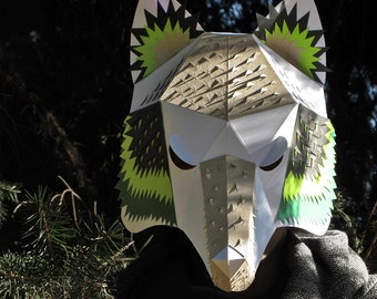 Wolf mask papercraft, digital download 3d origami, masquerade mask, papercraft mask papercut, low poly animal mask, woodland animals party