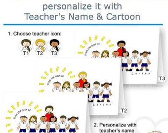 Personalized Teacher Printable Note Cards with Cartoon Character - DIY