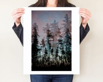 Tree silhouette double exposure, forest artwork, tree photograph. Experimental photography, dusk landscape. Tree artwork, forest wall art.