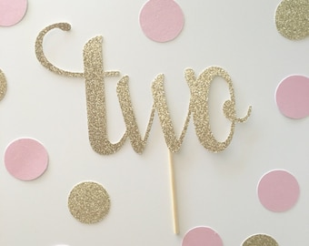 "Large Sparkly Glittery ""two"" cake Topper, 2nd birthday topper, two cake topper, glitter two, glitter 2, 2nd birthday cake, 2nd birthday"