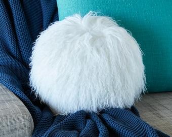 Mongolian Sheepskin cushion - Round - WHITE