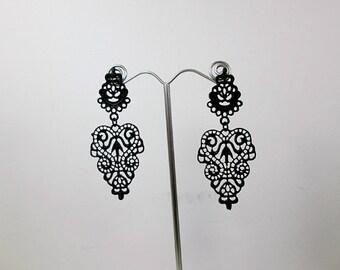 Large Black Chandelier Earrings Black Metal Lace Earrings Large Filigree Dangle Earrings Art Nouveau Prom Earrings Black Statement Earrings