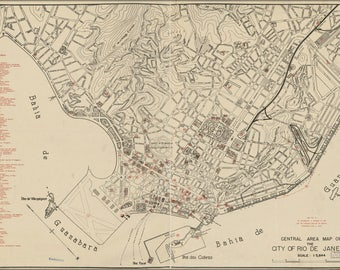 Poster, Many Sizes Available; Map Of Rio De Janeiro Brazil 1941