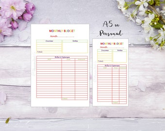 Monthly Budget | A5 | Personal | Printed | Planner | Insert | Finance | Money | Filofax | Kikkik | 12 pieces