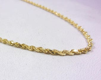 """Solid 14K Yellow Gold 18"""" Rope Chain Necklace 1.8mm 6.5 grams"""