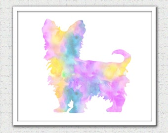Yorkie Digital Download, Yorkie print, Yorkie watercolor print, Yorkie silhouette, Yorkie art, Yorkie painting print