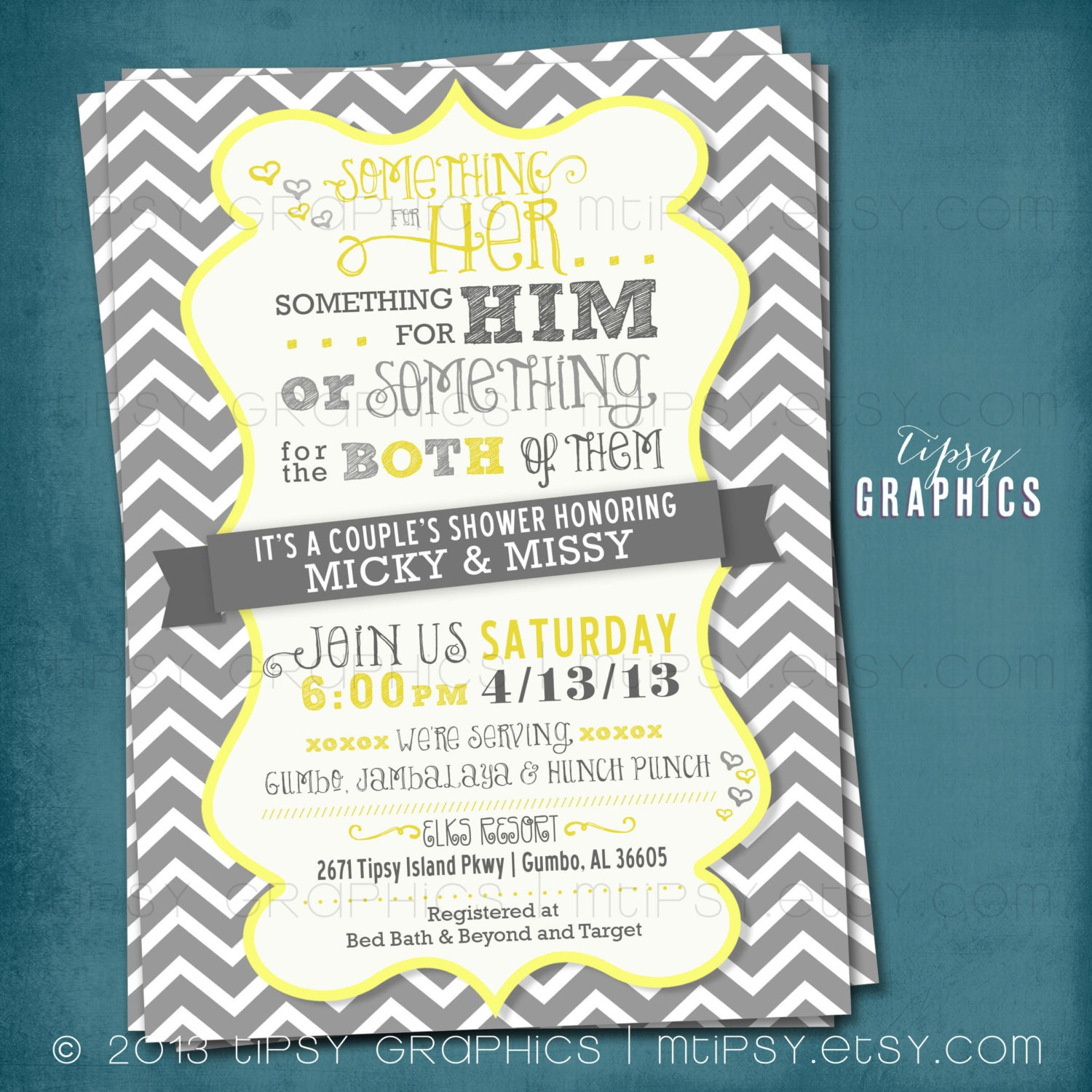 Coed Couple\'s Wedding Shower Invite. Chevron. Something