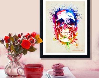 "Fine Art Print - ""Watercolor Skull "" 8.5""x11"", Abstract Skull, Anatomy print, Skull Art, Pop Art Skull, Skull Decor, Watercolor Splatter art"