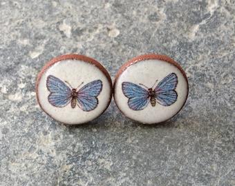 Butterfly Stud Earrings, Ceramic Earrings, Butterfly Earrings.