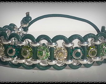 Dark Green leather bracelet with Silver chain