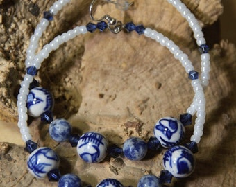 Porcelain- Blue n White, soladite stone, dangle Hoop earrings