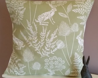 """New Hare Cushion Cover Gorgeous Fabric - Pillow- Sham 16 """"   Vintage Style Hare / Rabbits Sage Green"""