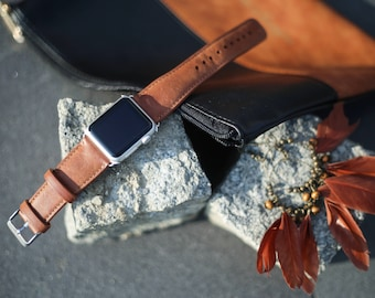 Brown Leather Apple Watch Band 42mm 38mm, Apple Watch Strap, Custom Leather Apple iWatch Band, Apple Watch Series 1 2 3 Leather Strap, TC
