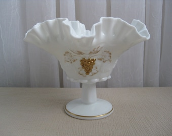 Vintage 1960's Paneled Grape Gold Leaves Milk Glass Crimped Comport Westmoreland