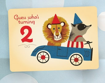 2nd Birthday Party Invitation - Lion and Badger in GO Cart - Vintage Style - Set of 20 Cards and Envelopes