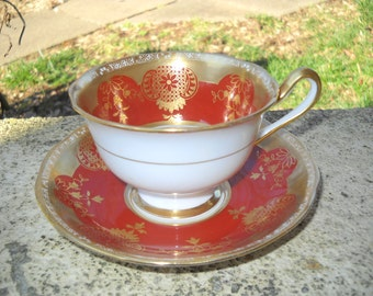 Exquisite Royal Albert Crown China Cup And Saucer Rust with Heavy Gold.Love English China?