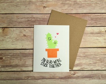 Cute Valentines Day Card, Cactus Card, Anniversary Card, Love Card, I'm Glad We're Stuck Together
