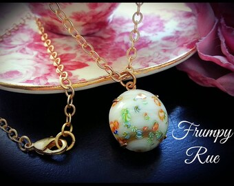Vintage 1950's Japanese Millefiori Charm Necklace with Satin Gold Chain