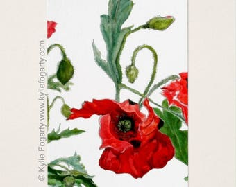 ACEO Print, Red, Black Poppy ACEO, Fine Art Print, Remembrance Garden ii,  Flanders Poppy, Kylie Fogarty Art, Collectable Art,ATC
