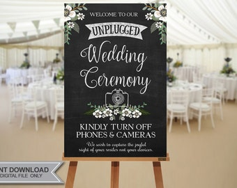 """ON SALE! UNPLUGGED Wedding Sign // 20""""x30""""  Unplugged Wedding Sign // Instant Download- No Waiting!"""