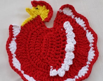 crochet chicken pot holder, cotton rooster pot holder, yellow chicken pot holder, yellow rooster hot pad, crochet hot pad,cotton pot holder