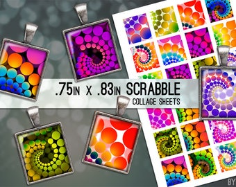 Scrabble Tile Digital Collage Sheet Psychedelic Retro Dots .75x.83 Images 4x6 and 8.5x11 Download Sheets for Glass or Resin Pendants