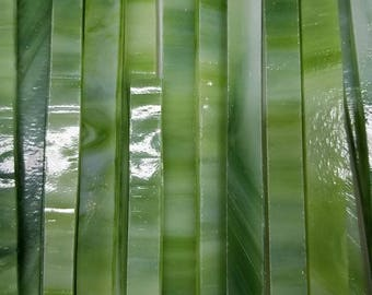 GREEN Streaky Wissmach Glass Strips for Mosaic work or art project in glass 1.5 Lbs