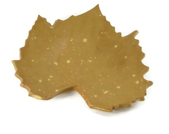 Grape Leaf dish - pottery - tan speckled - steampunk tan - ring dish - spoon rest - fall leaf - fall decor