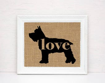 Miniature Mini Schnauzer Love - Burlap Wall Art Gift for Dog Lovers - Personalize Silhouette w/ Name - More Breeds (101p)