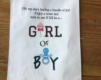 Gender reveal Bag party favor bag utensil bag  gender reveal bag