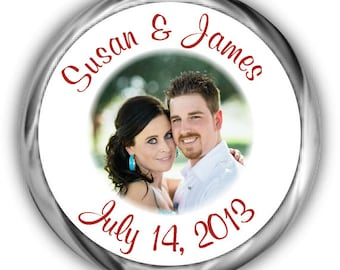 Photo Wedding Hershey Kisses Stickers | Personalized Wedding Sticker Tags