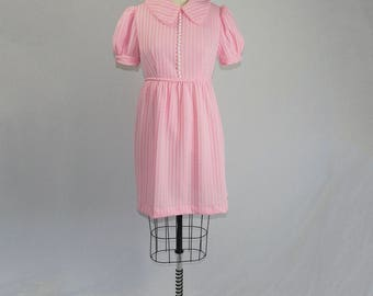 Vintage 1970's Mod Mini Dress Pink Peter Pan Collar Babydoll Puff Sleeves Dress L