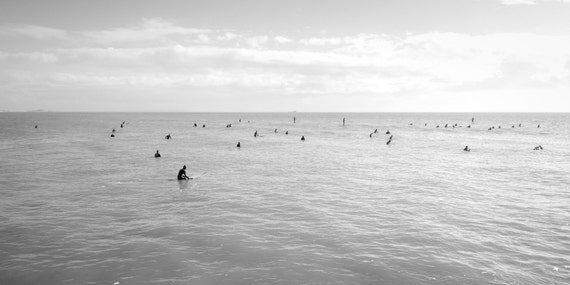 WAITING FOR WAVES. Surfing Picture, Seascape Print, Black And White, Dorset Print, Photographic Print
