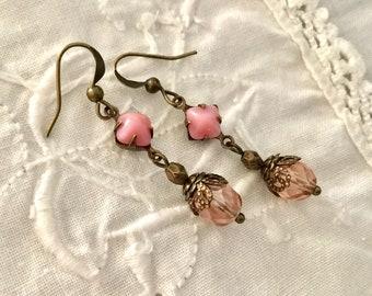 Pink romantic filigree earrings cottage style earrings