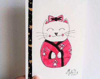 Carte Chat rouge kimono