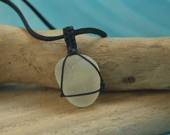 White pendant of sea glass , very beautiful necklace pendant of seaglass, beautiful gift